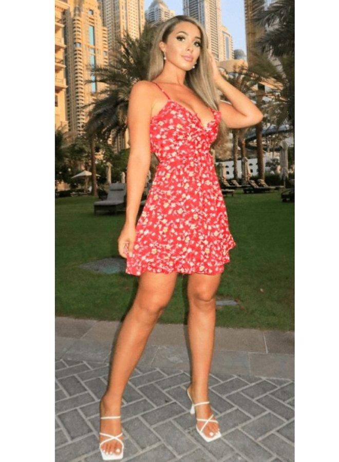 cami strap mini dress with ruffles