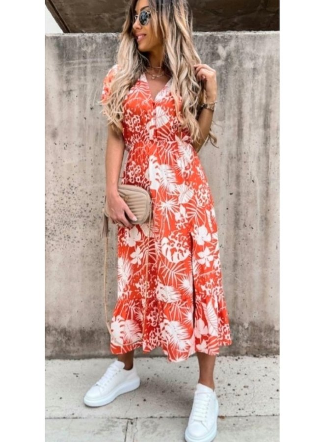 red/white short sleeve floral print midaxi dress