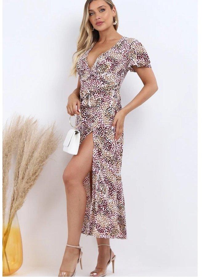 wrap front split leg maxi dress