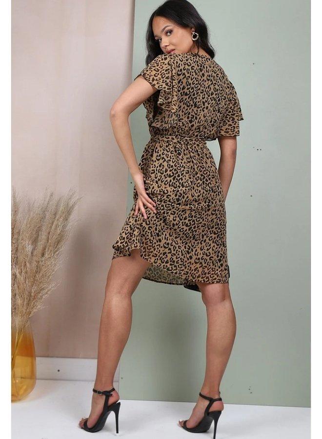 wrap mini dress animal print