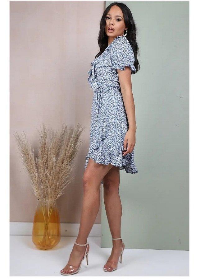 Blue floral frill wrap dress