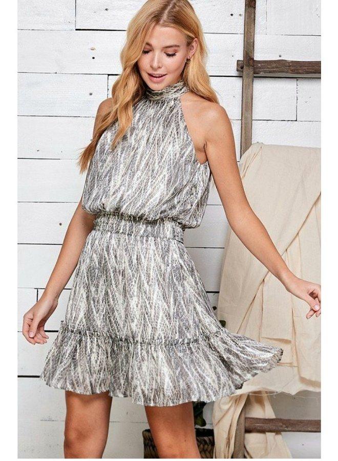 snakeskin  print halter dress