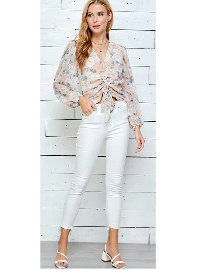 flower print ruched blouse