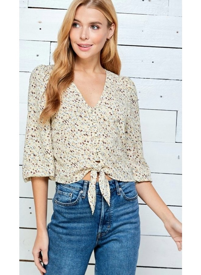 Ditsy print button up blouse