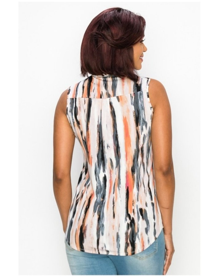 printed mandarin collar top