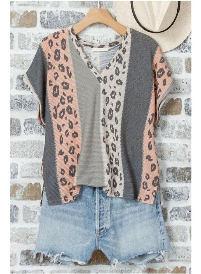leopard print color block top