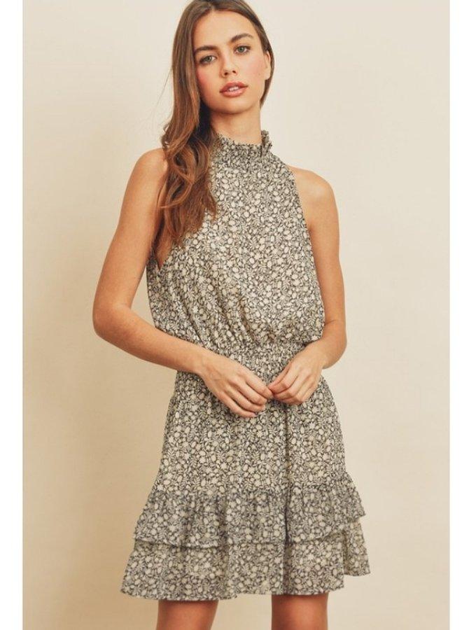 mock neck floral print dress