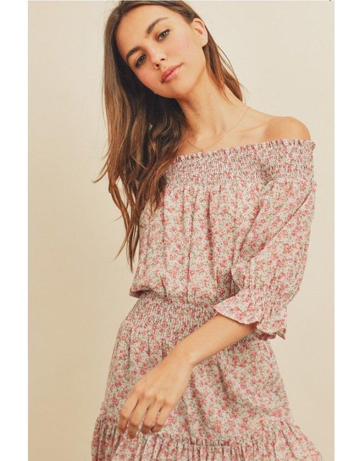 Floral print off-the-shoulder dress