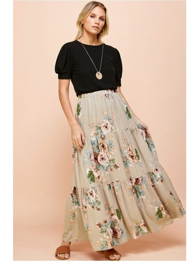 Three layer floral skirt