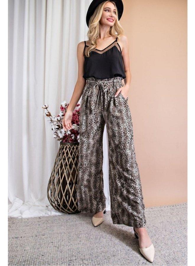 animal print wide leg pants