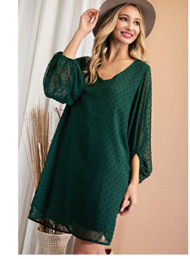 scoop neck tufted dot long sleeve dress