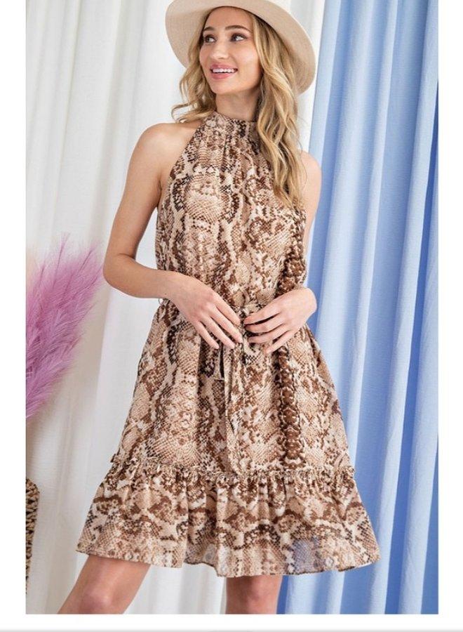 snake print mini dress