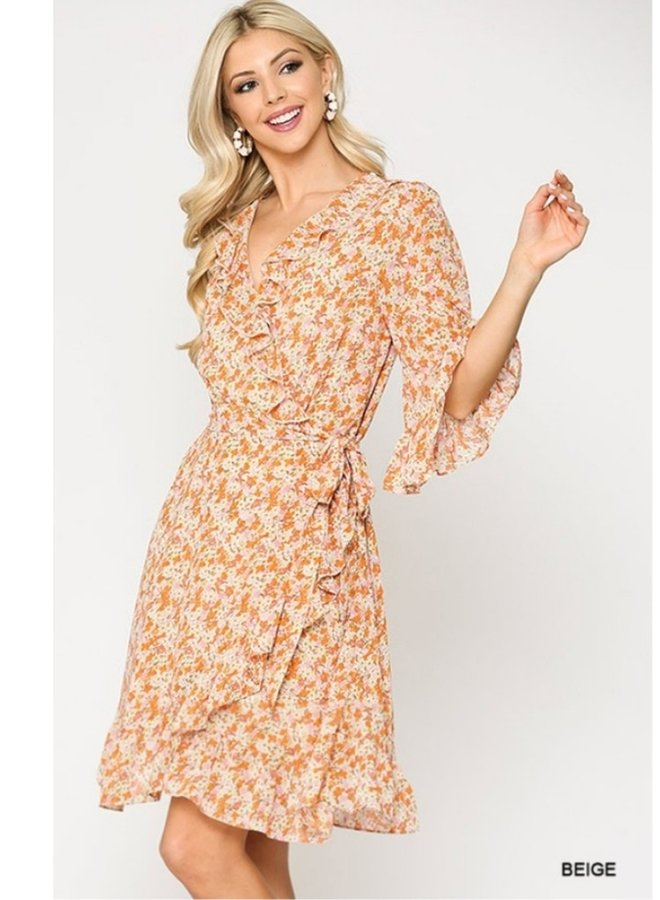 ditsy print ruffle dress