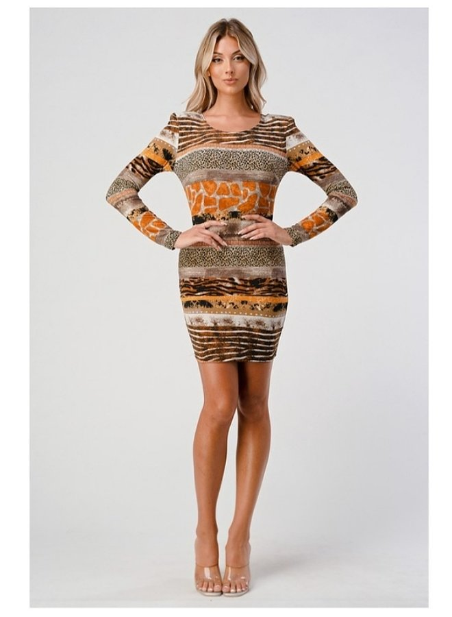 long sleeve bodycon dress with shoulder pads