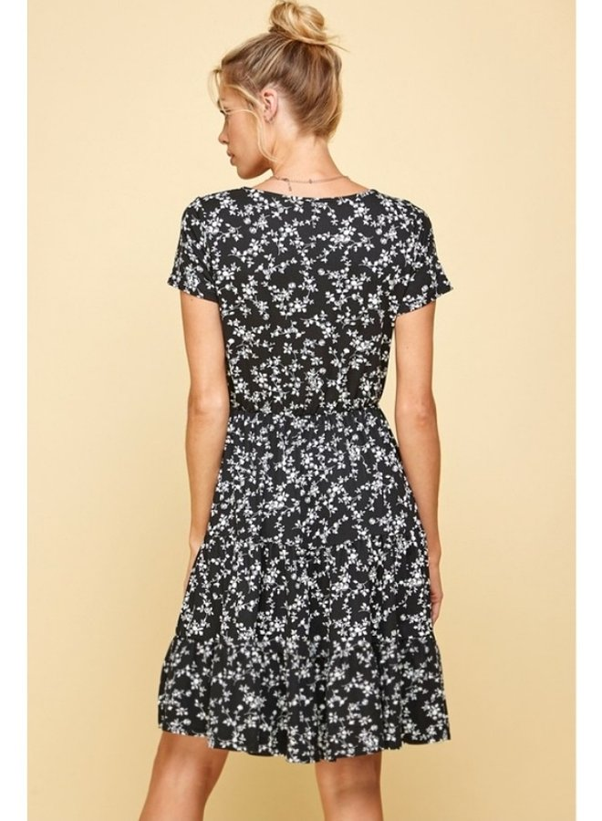 floral printed short sleeve dress