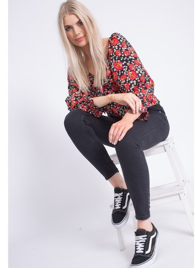 puff sleeve floral print top