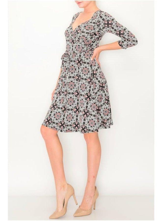 black floral long sleeve dress