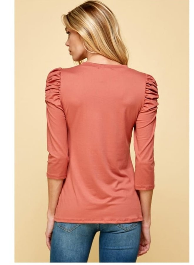 basic puff shoulder long sleeve top