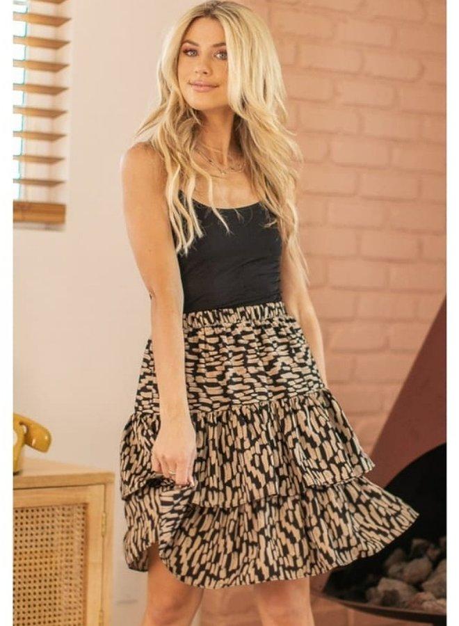 abstract print ruffle skirt