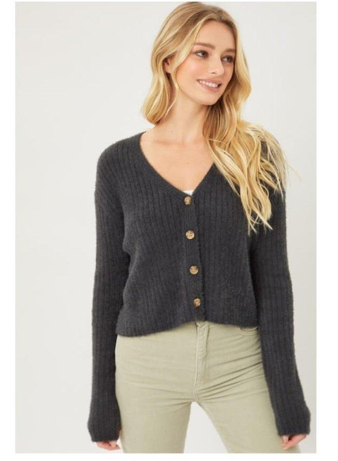 button up fuzzy cardigan