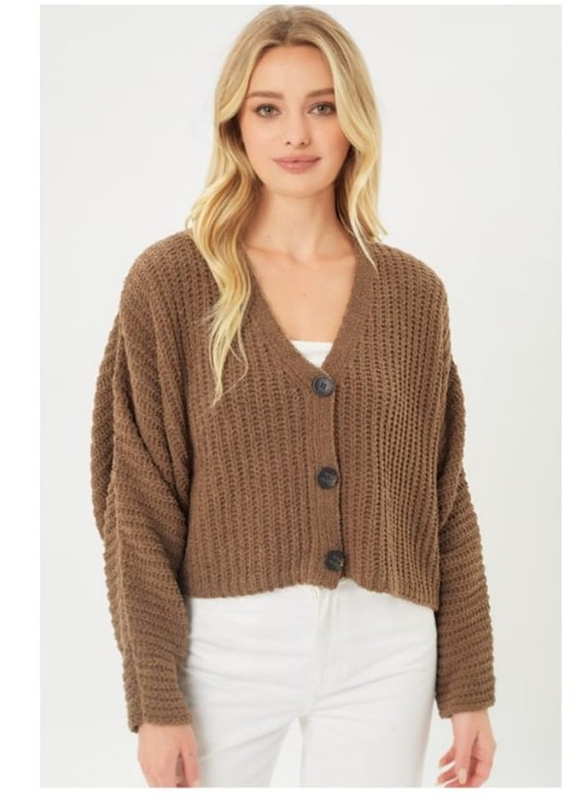 button cropped cardigan