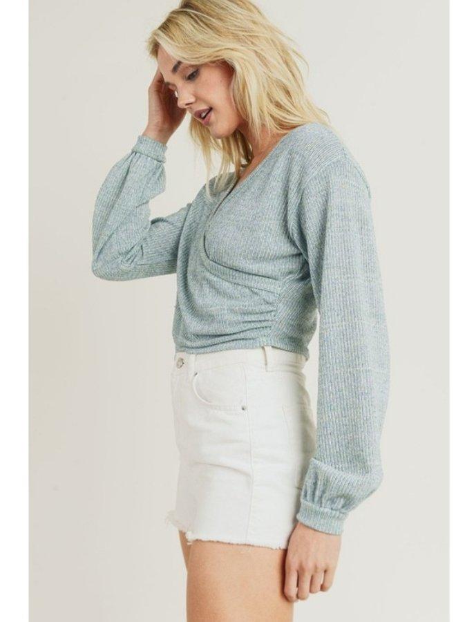 Drop shoulder cropped sweater