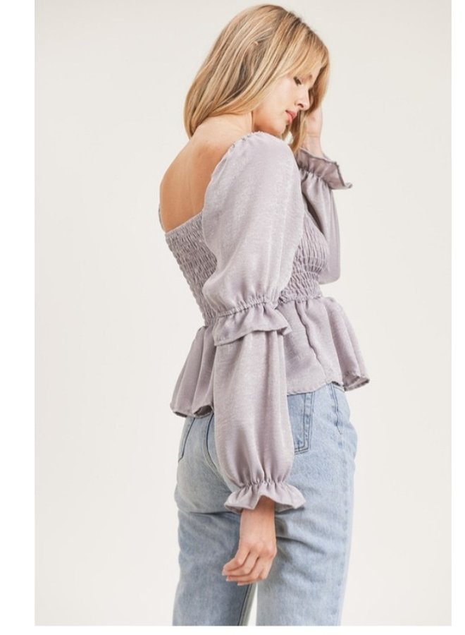 smocked blouse with ruffles