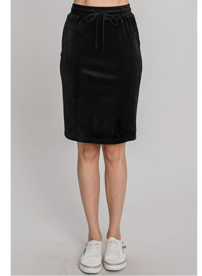 velvet drawstring skirt