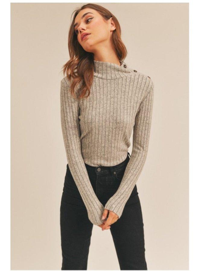 ribbed knit mock neck button shoulder top