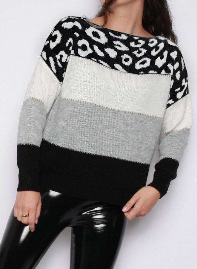 leopard stripe sweater