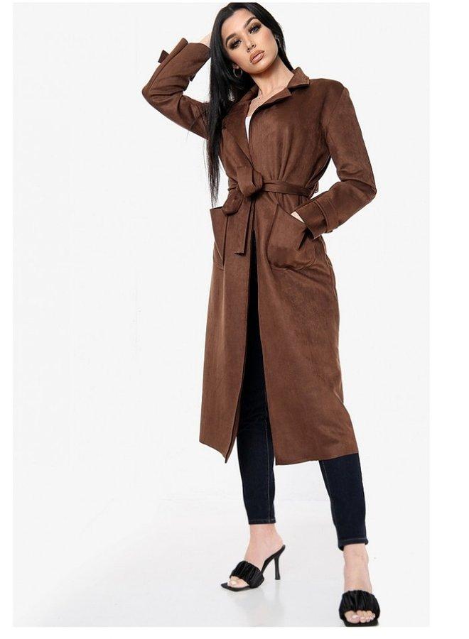 suedette belted jacket
