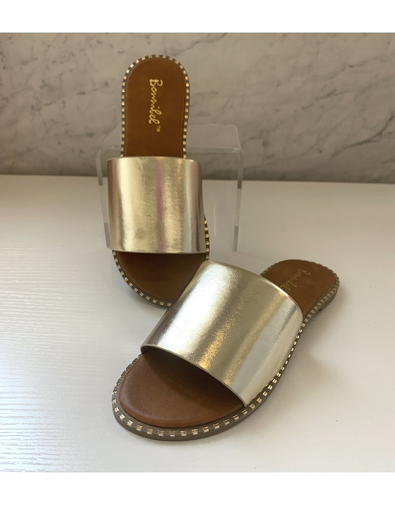 Gold Flat Slide Sandals - LUCO Boutique