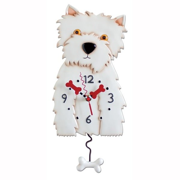 White Westie Dog Clock