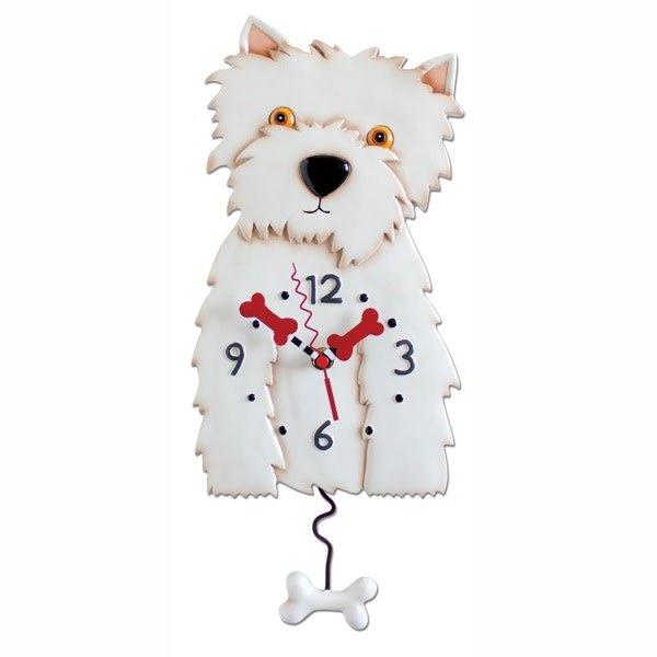 White Westie Dog Clock