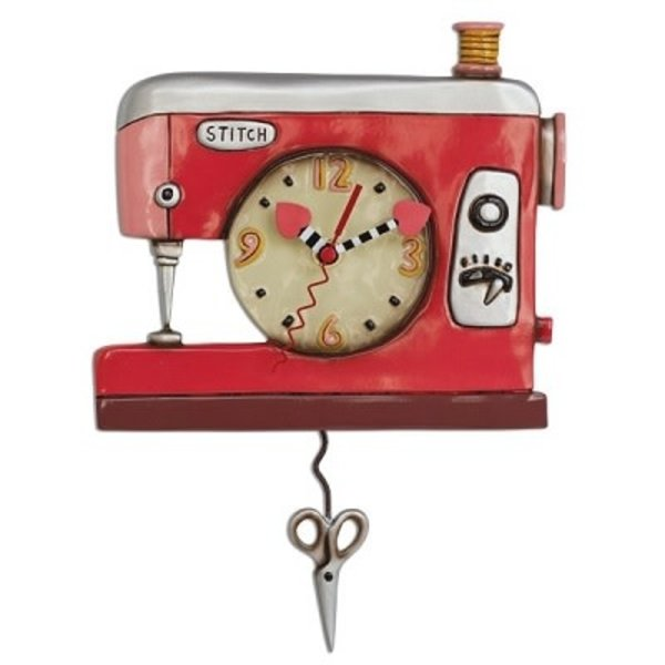 Pink Sewing Machine Clock