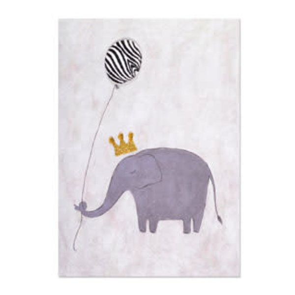 Birthday Card Elephant  Zebra Striped Balloon
