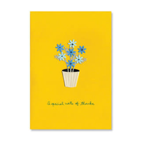 Thank You Card -Pot Of Daisies On Gold