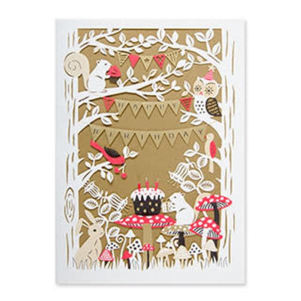 Papyrus Birthday Card Laser cut Woodland