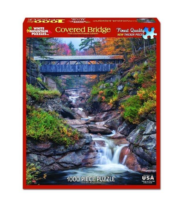 White MTN Puzzles Covered Bridge 1000 Piece Puzzle
