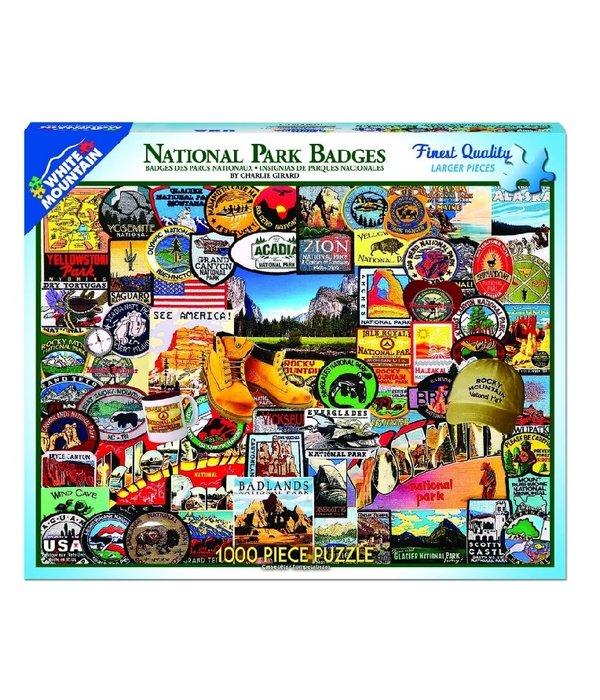 White MTN Puzzles National Parks Badges 1000 Piece Puzzle