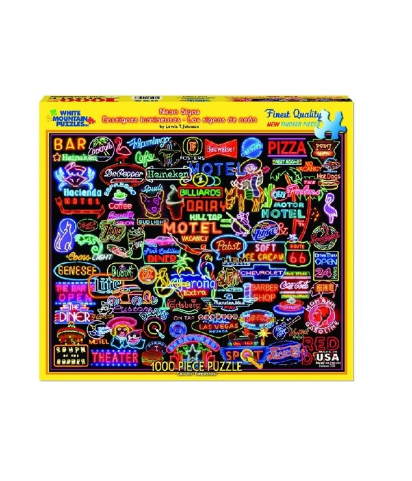 White MTN Puzzles Neon Signs 1000 Piece Puzzle