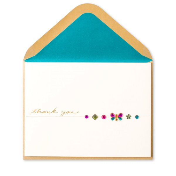 Thank You Card Butterfly Gems
