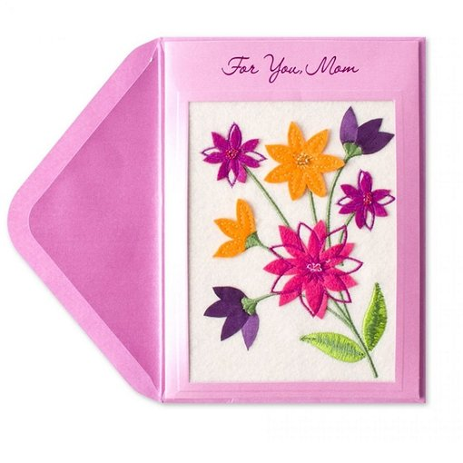 Papyrus Birthday Card Mom Embroidered Flowers