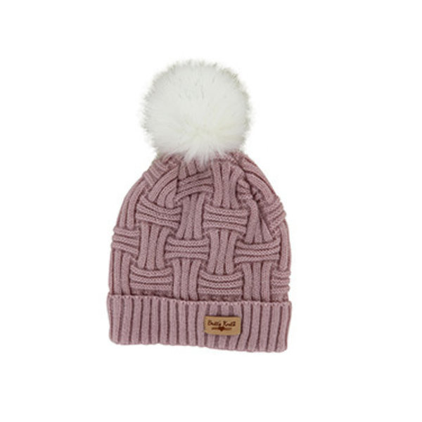 Pink Winter Hat With Pom Pom