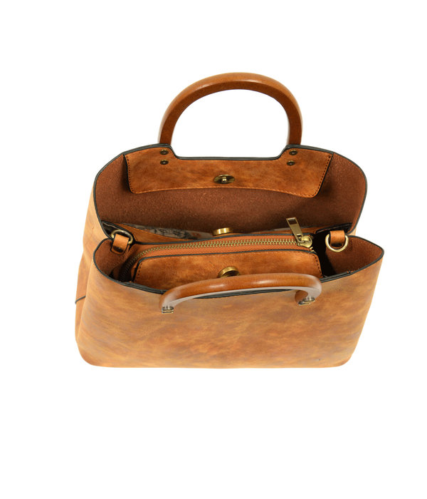 Angie Vintage Satchel- Saddle