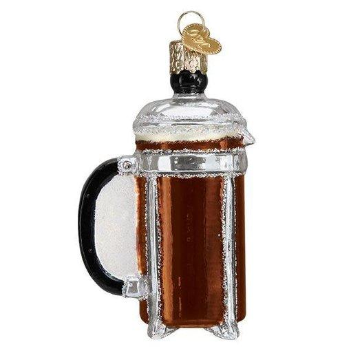 Old World Christmas Coffee Press Christmas Ornament