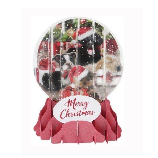 Christmas Puppies Pop-Up Snowglobe Card