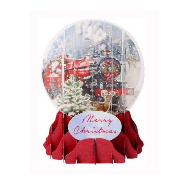 Santa's Express Snow Globe Pop-Up Card