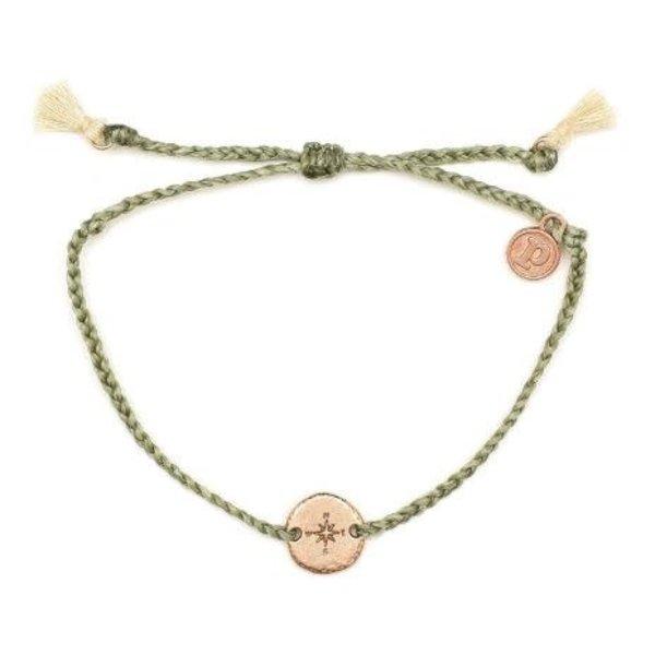 Pura Vida Charm compass Rose Gold Sage Green Bracelet