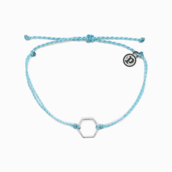 Pura Vida Charm Hexagon Silver blue Bracelet